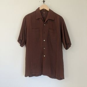 Vintage 50s loop collar double pocket fleck shirt